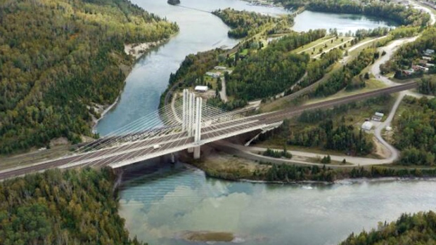 A concept drawing shows the Nipigon River Bridge, which is expected to be completed in 2017.